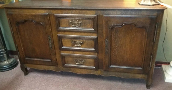 DARK OAK LOUIS XV SIDEBOARD WITH CENTER DRAWERS