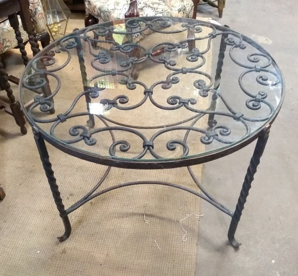 ROUND GLASS TOP WROUGHT IRON COFFEE TABLE