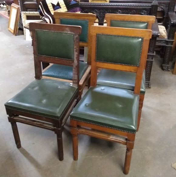 SET OF 4 ART DECO CHAIRS WITH GREEN LEATHER