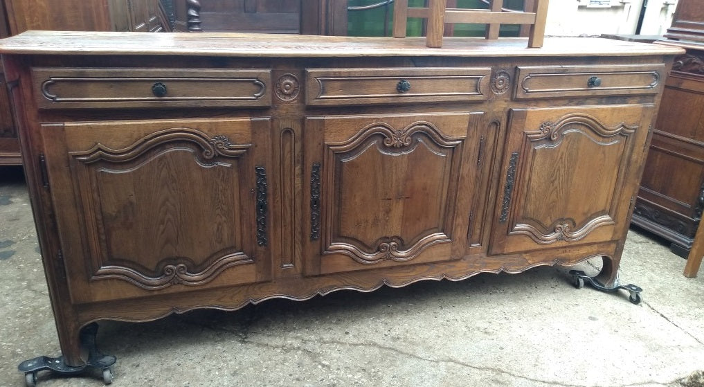 EARLY NORMANDY HEAVY OAK SIDEBOARD