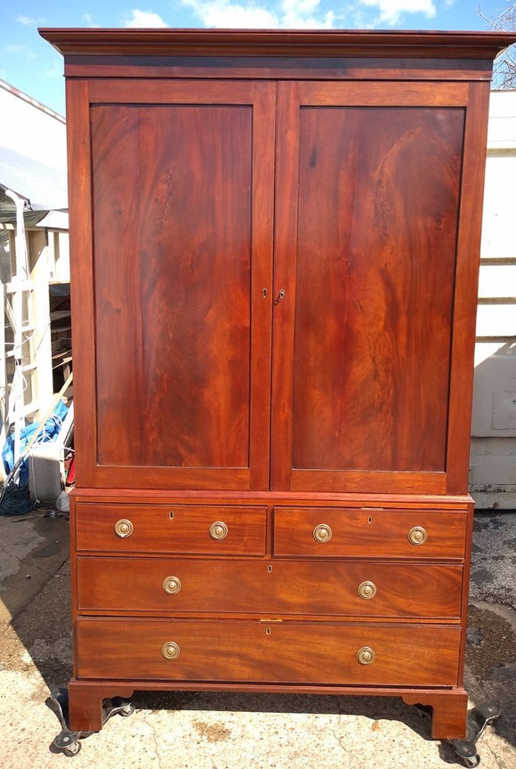 MAHOGANY LINEN PRESS ARMOIRE