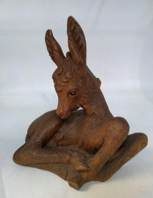 CARVED DEER STATUE