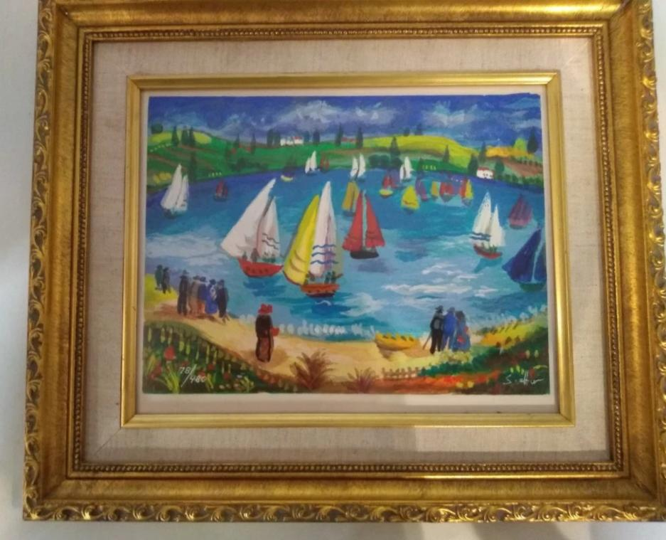 SMALL GILT FRAME SAIL BOAT SERIGRAPH BY S. ALTER