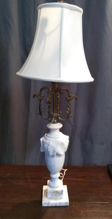 CARVED MARBLE LAMP WITH SHADE