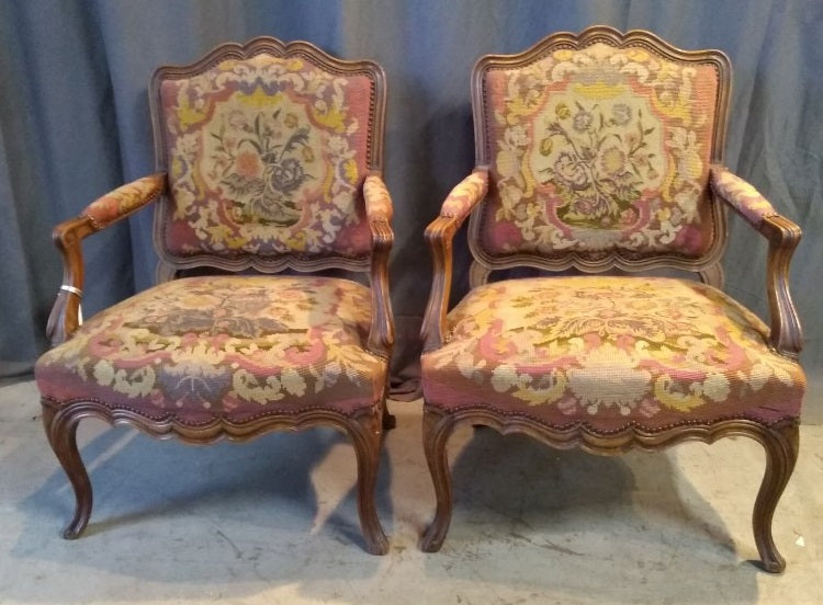 PAIR OF QUALITY OAK AND TAPESTRY LOUIS XV FAUTEUILS