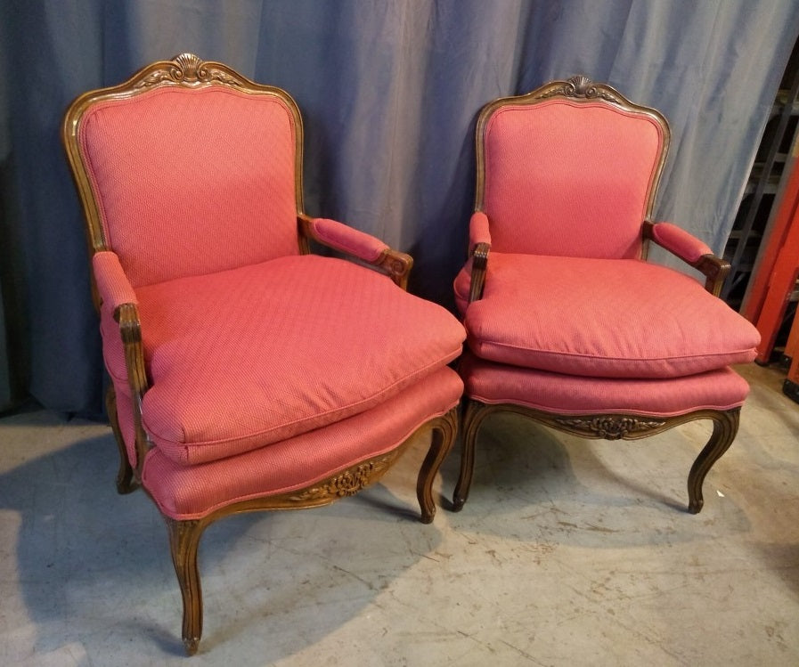 PAIR OF UPHOLSTERED LOUIS XV FAUTEUILS WITH COMFORT SEATS