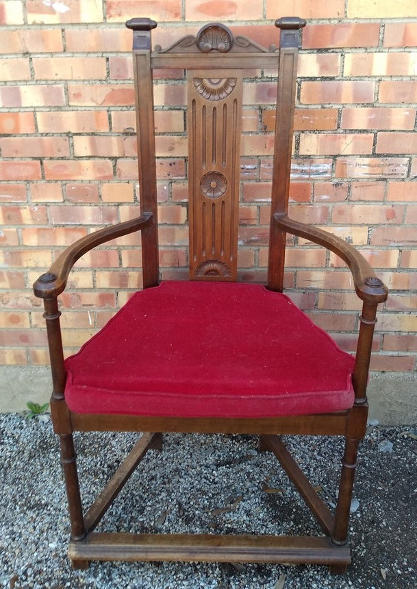 HENRI II ARM CHAIR WITH RED VELVET UPHOLSTERED SEAT