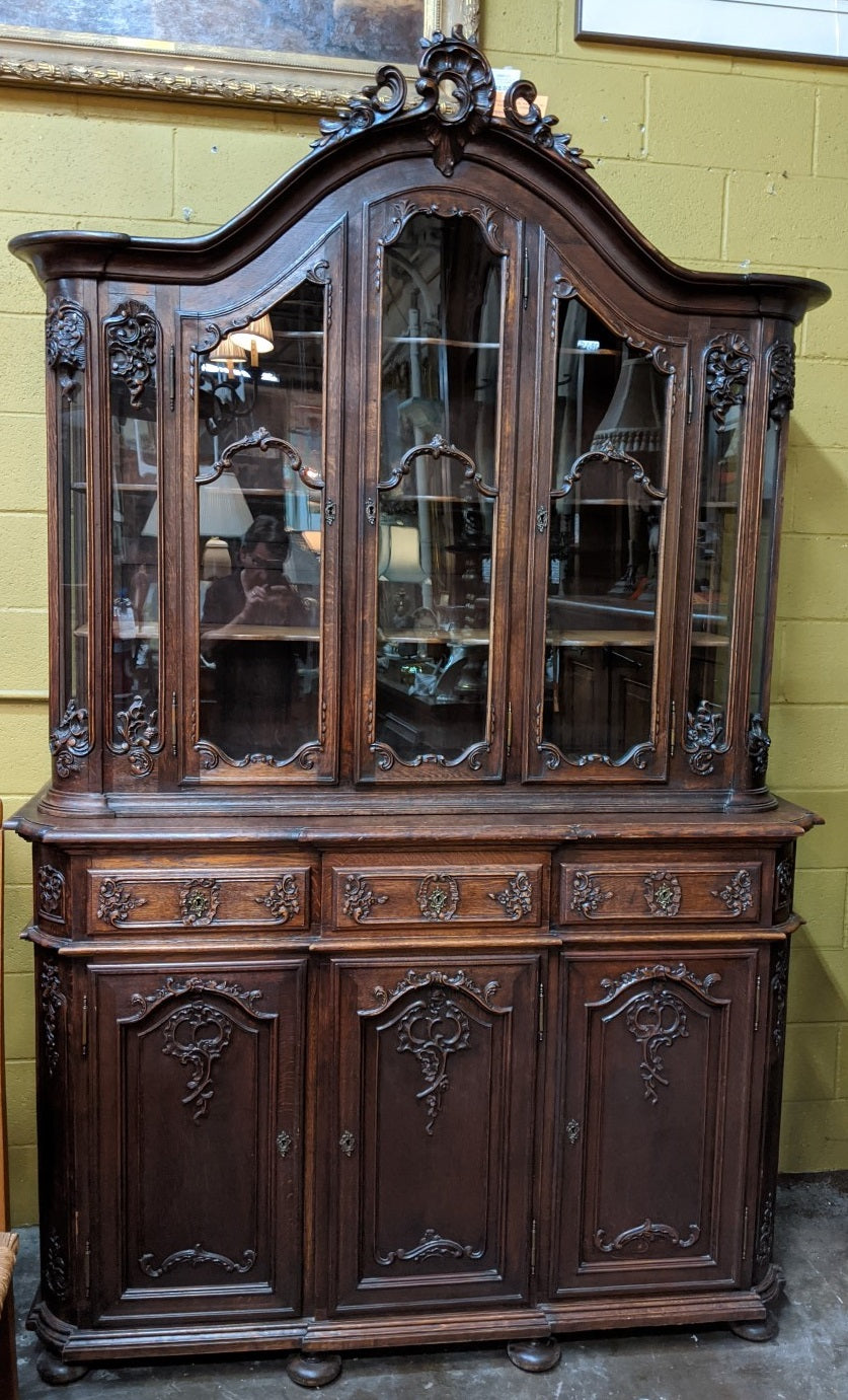 LIEGES STYLE DARK OAK CHINA CABINET
