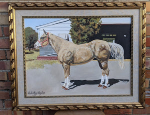 PROFILE OF HORSE OIL PAINTING ON CANVAS - ARTIST SIGNED