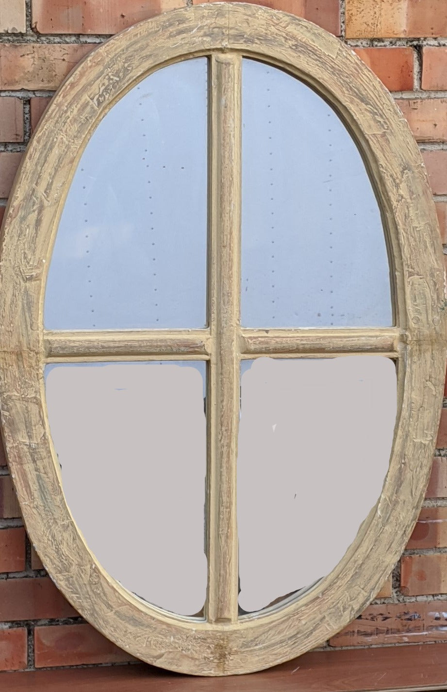 PAINTED OVAL MIRROR WINDOW WITH MULLIONS