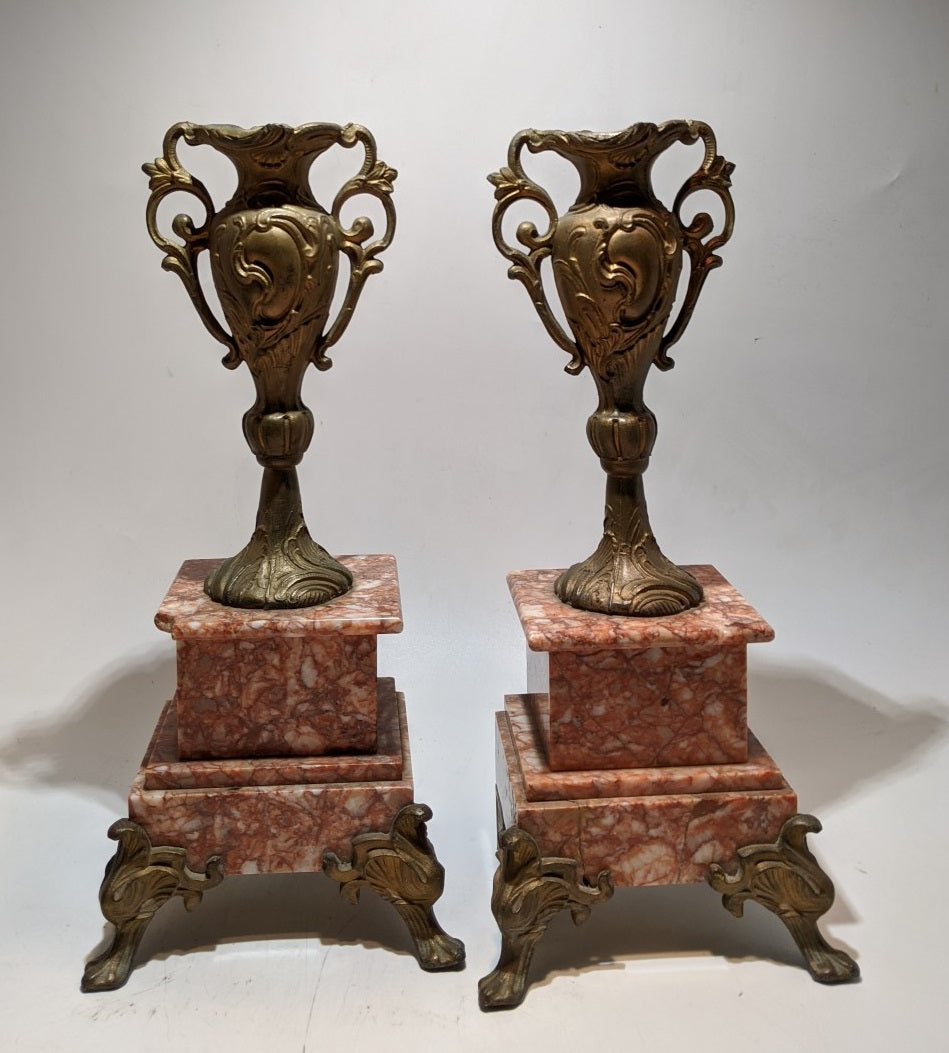 PAIR OF SPELTER AND MARBLE CASTELETTES