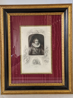 NICELY FRAME ETCHINGS OF 4 FRENCH KINGS AND QUEEN