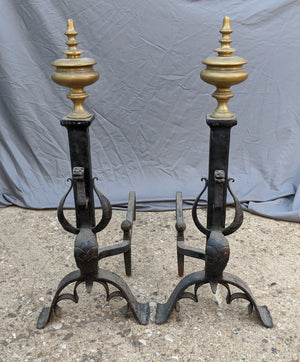 BRASS FINIAL TOP IRON ANDIRONS