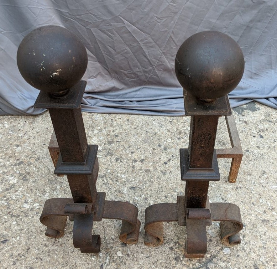 PAIR OF BLACK WROUGHT IRON  ANDIRONS WITH CANNONBALL TOPS