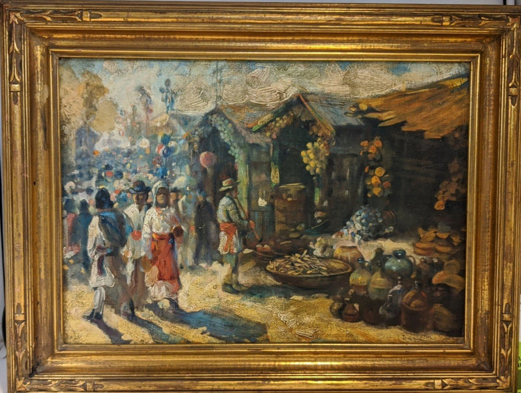 SOUTH AMERICAN MARKET SCENE OIL PAINTING