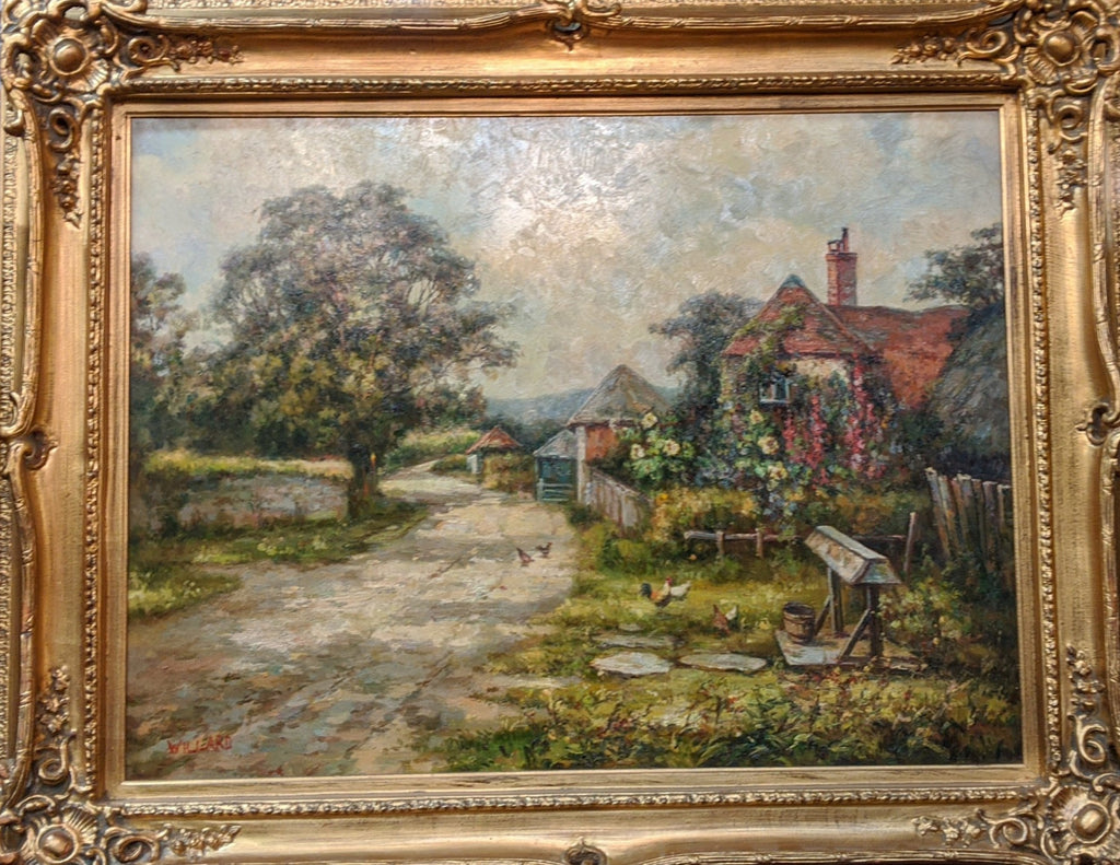 LARGE BUCOLIC FRAMED OIL PAINTING