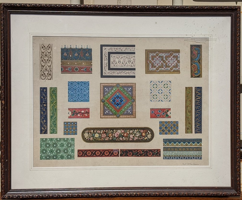 WATERCOLOR PAINTING OF COLLAGE OF TEXTILE SAMPLES BY WILLIAM HENRY MILNES