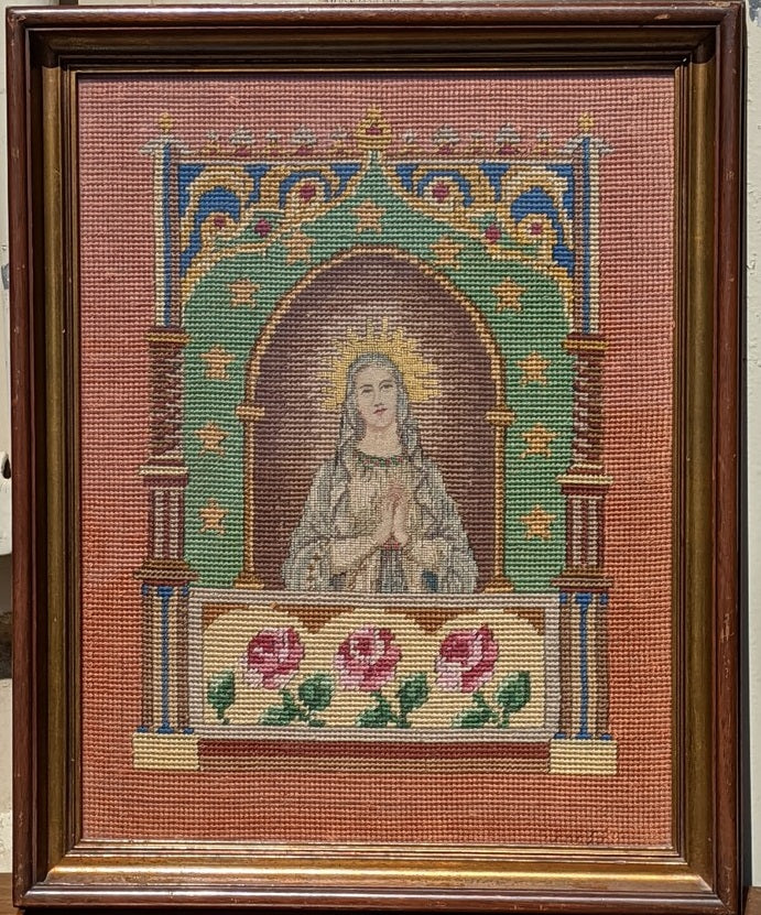 ANTIQUE FRAMED TAPESTRY OF MARY