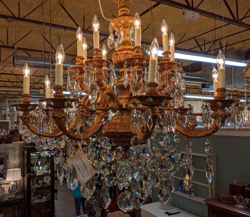 HEAVY BRASS AND CRYSTAL 9 ARM CHANDELIER