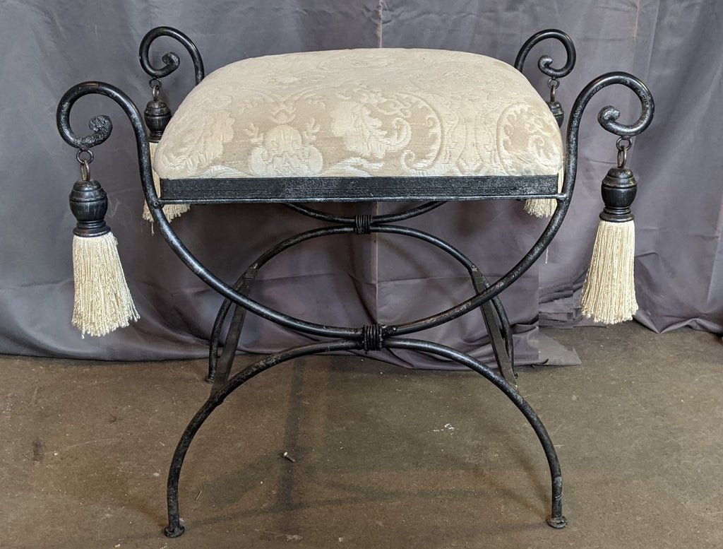 SMALL IRON X FORM BENCH WITH TASSELS