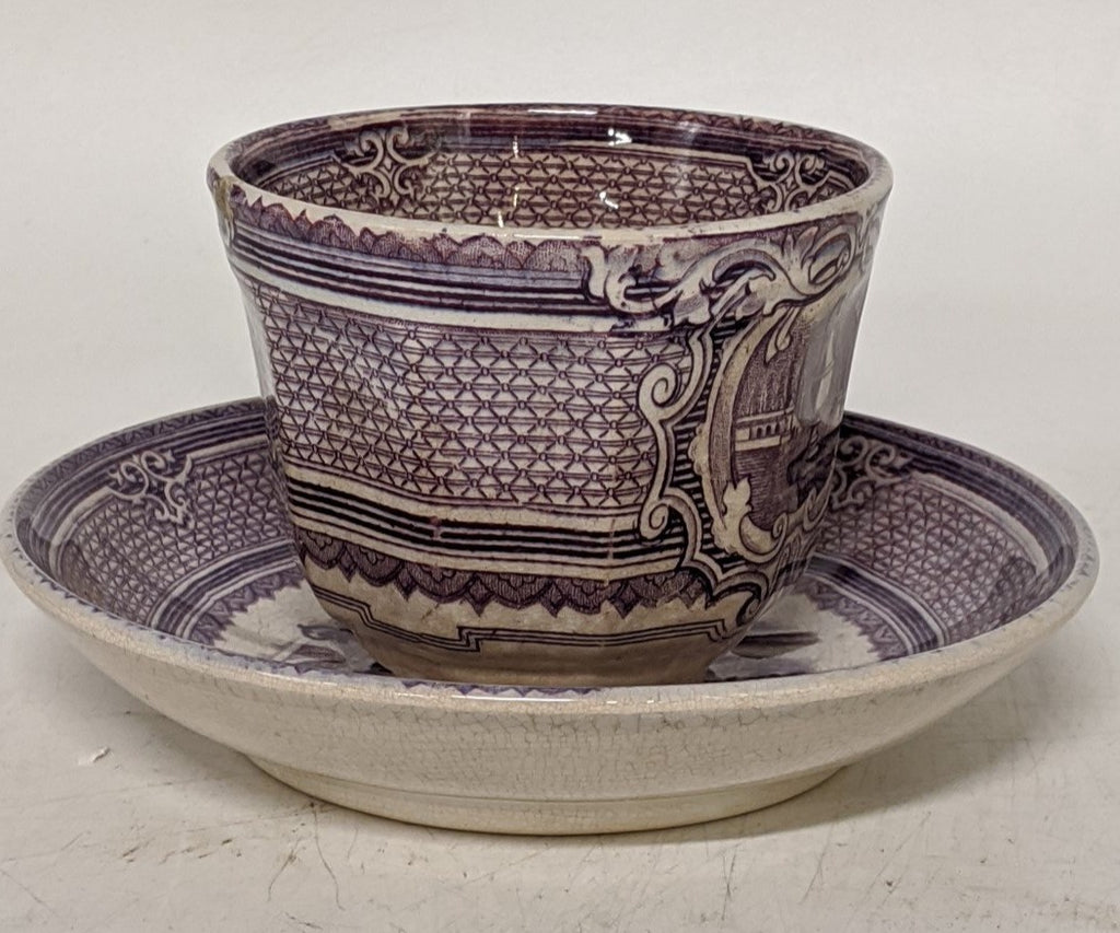19TH CENTURY ENGLISH LAVENDER CUP AND SAUCER