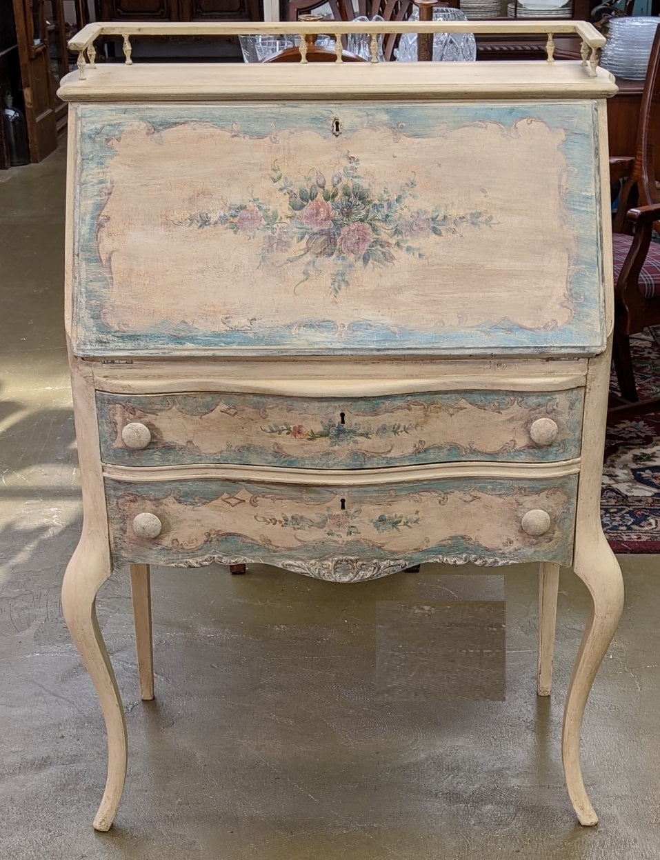 PAINTED SHABBY CHIC FLORAL DROP FRONT DESK
