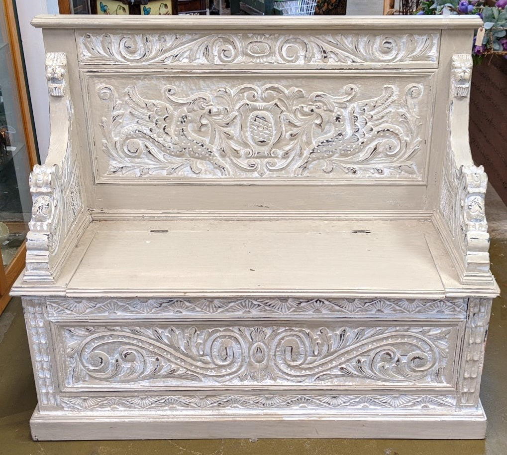 GRIFFIN CARVED ENGLISH BENCH WITH STORAGE