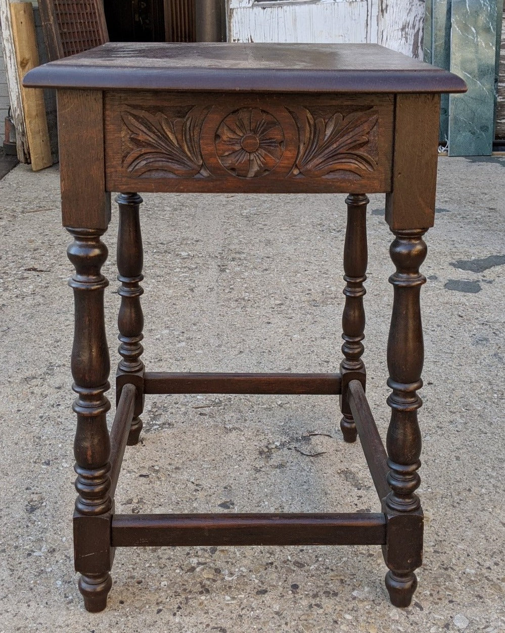 CARVED EDWARDIAN TABLE WITH AS IS STRETCHER