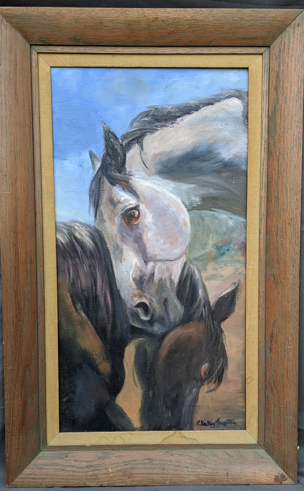 VERTICAL OIL PAINTING OF HORSE BUDDIES BY CYNTHIA HAMPTON