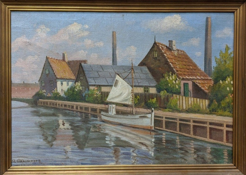 LARGE CANAL SCENE OIL PAINTING BY CLEMSON