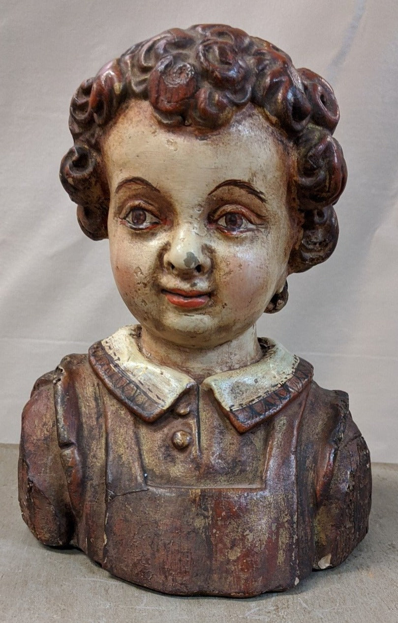 PAINTED TERRA COTTA STATUE OF YOUNG MAN