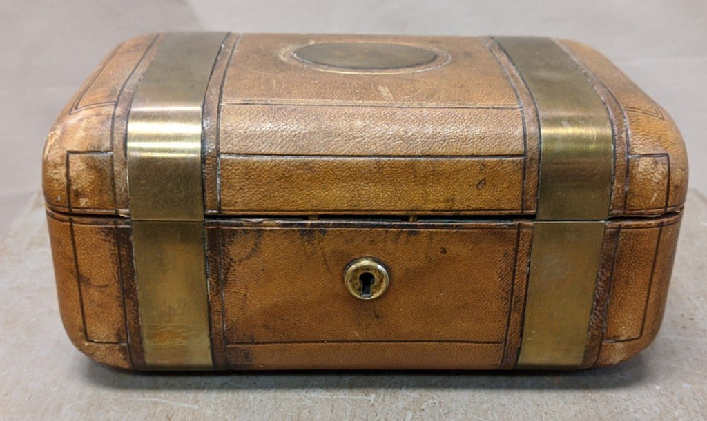 ENGLISH 19TH CENTURY BRASS BOUND LEATHER BOX