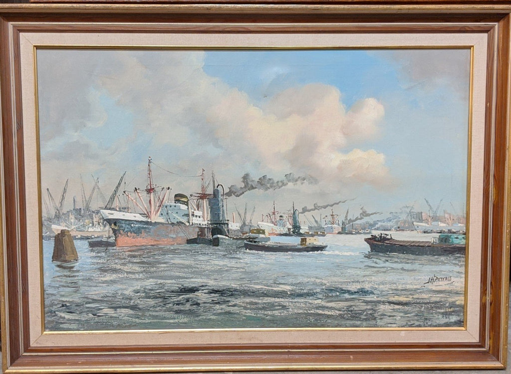 LARGE INDUSTRIAL HARBOR SCENE OIL PAINTING BY J. H. PETERS