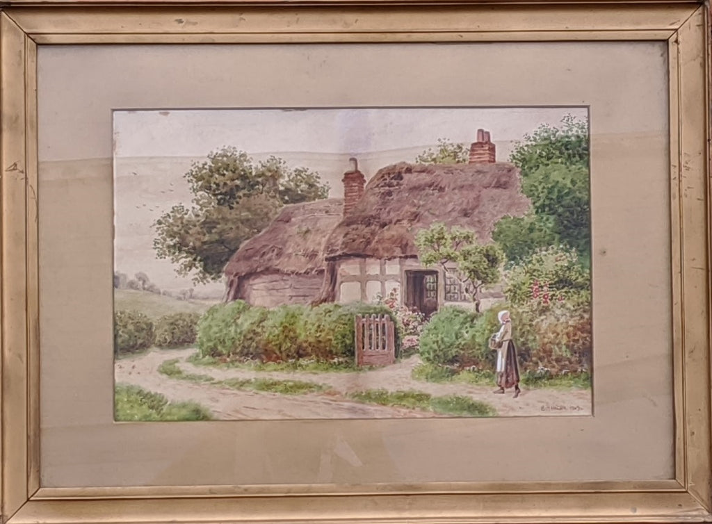 THATCH HOUSE WATERCOLOR BY S. HAMILTON