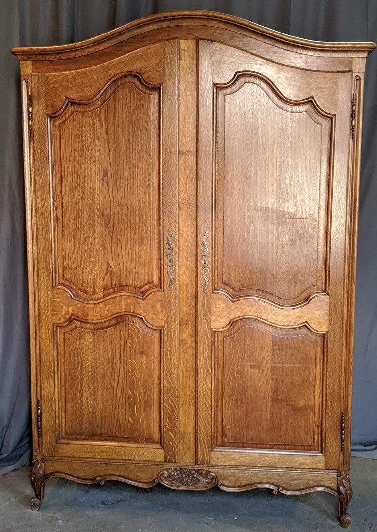 LOUIS XV DOUBLE DOOR OAK ARMOIRE
