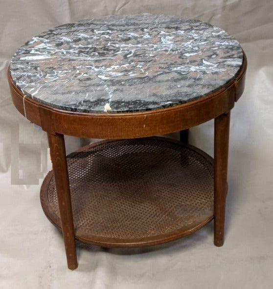 ROUND MARBLE TOP TABLE WITH LOWER CANED SHELF-AS IS PROJECT