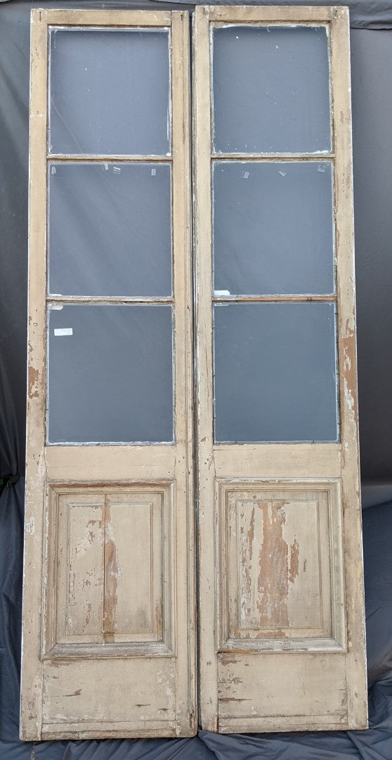 PAIR OF 19TH CENTURY DOORS WITH PANELS AND 3 GLASS PANES