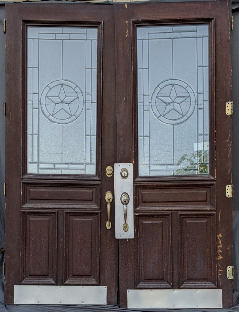 PAIR OF LEADED GLASS DOORS WITH TEXAS STAR