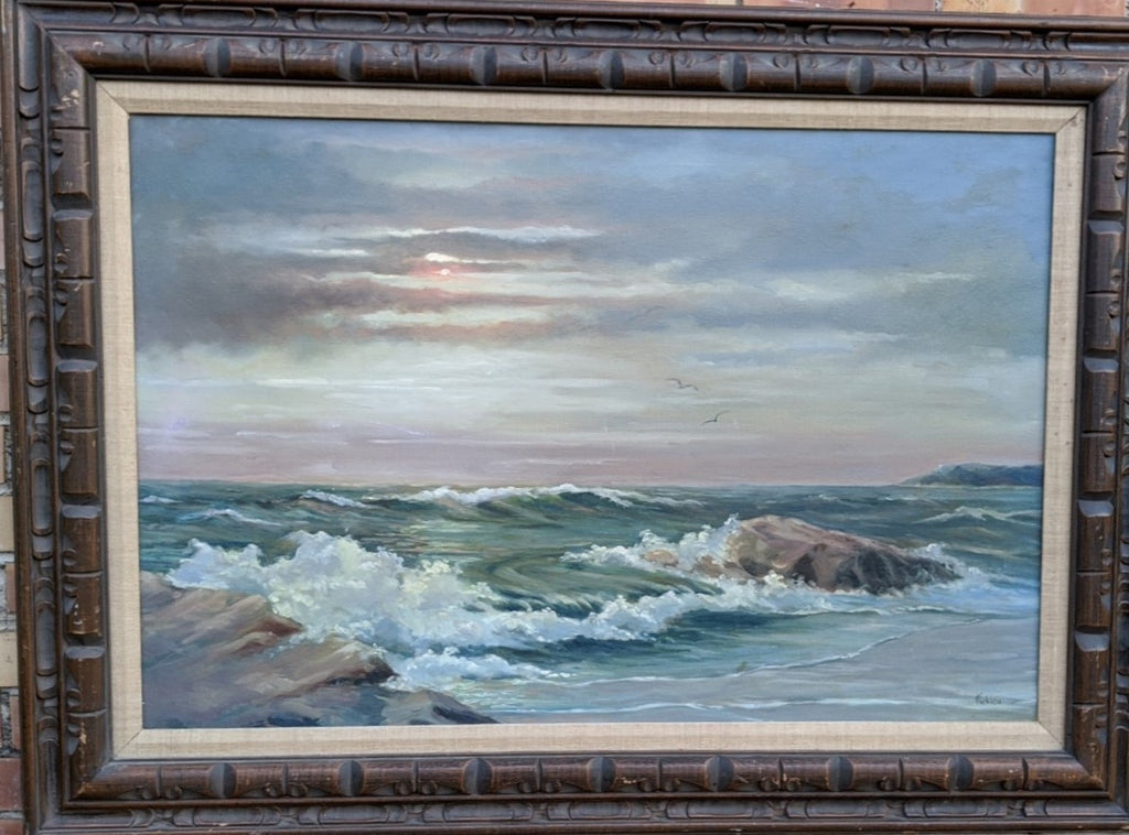 LARGE FRAMED SEASCAPE OIL PAINTING BY HERC FICKLIN