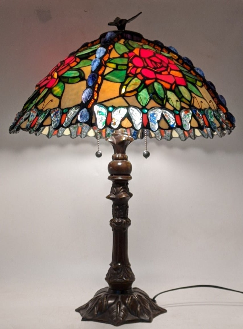 BUTTERFLY AND ROSE STAINED GLASS LAMP