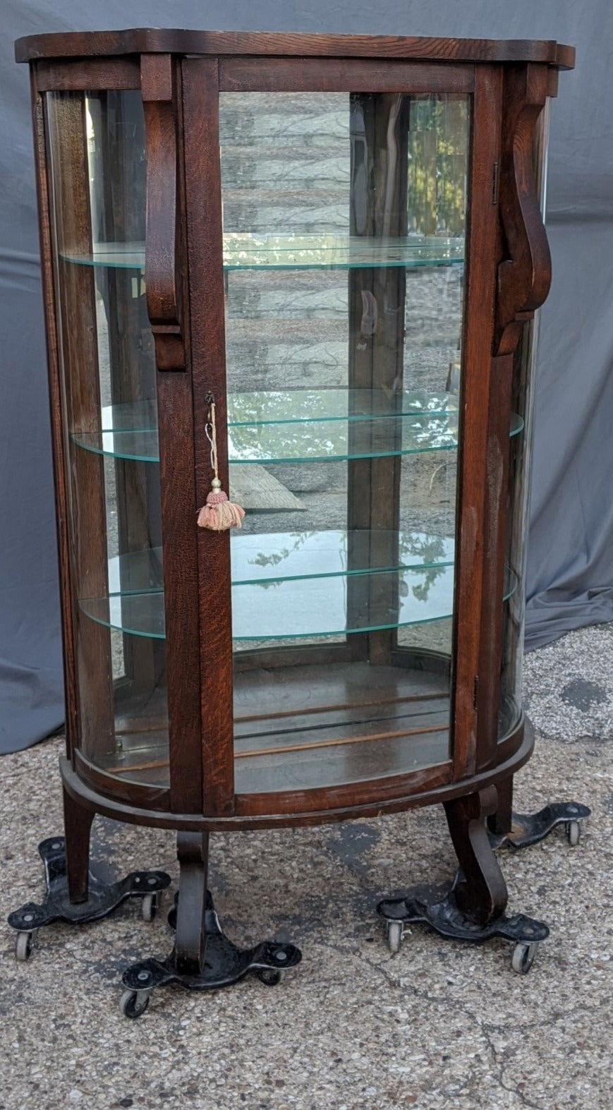 AMERICAN OAK EMPIRE CURVED GLASS DISPLAY
