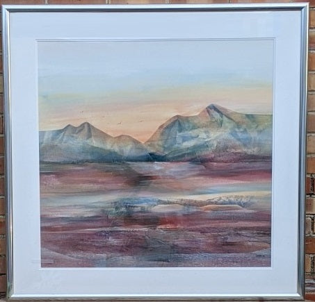 LARGE MODERN LANDSCAPE WATERCOLOR PAINTING WITH PURPLE HUES BY JAN DORER