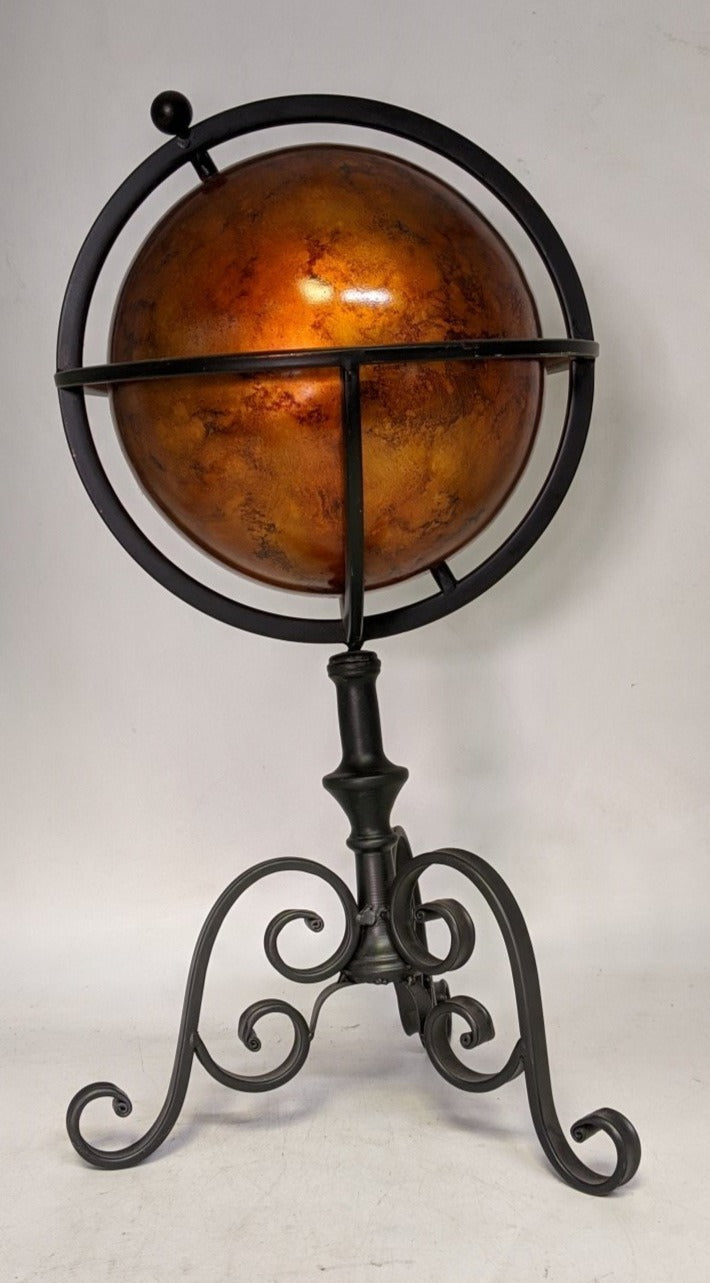RED/GOLD GLOBE ON BLACK IRON STAND