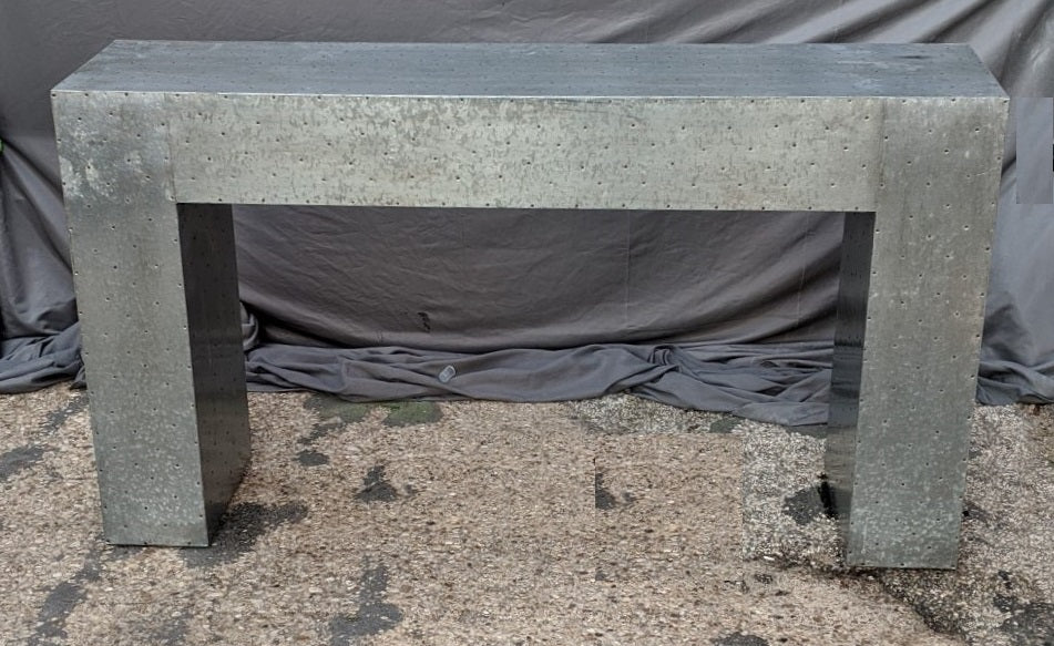 TIN CLAD INDUSTRIAL STYLE SOFA TABLE OR CONSOLE