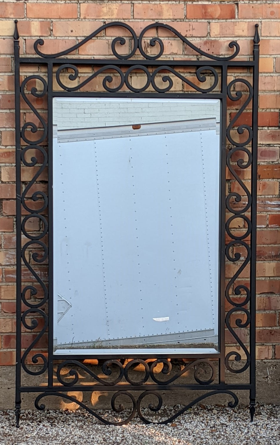BENT IRON FRAMED BEVELED MIRROR 1 of 2