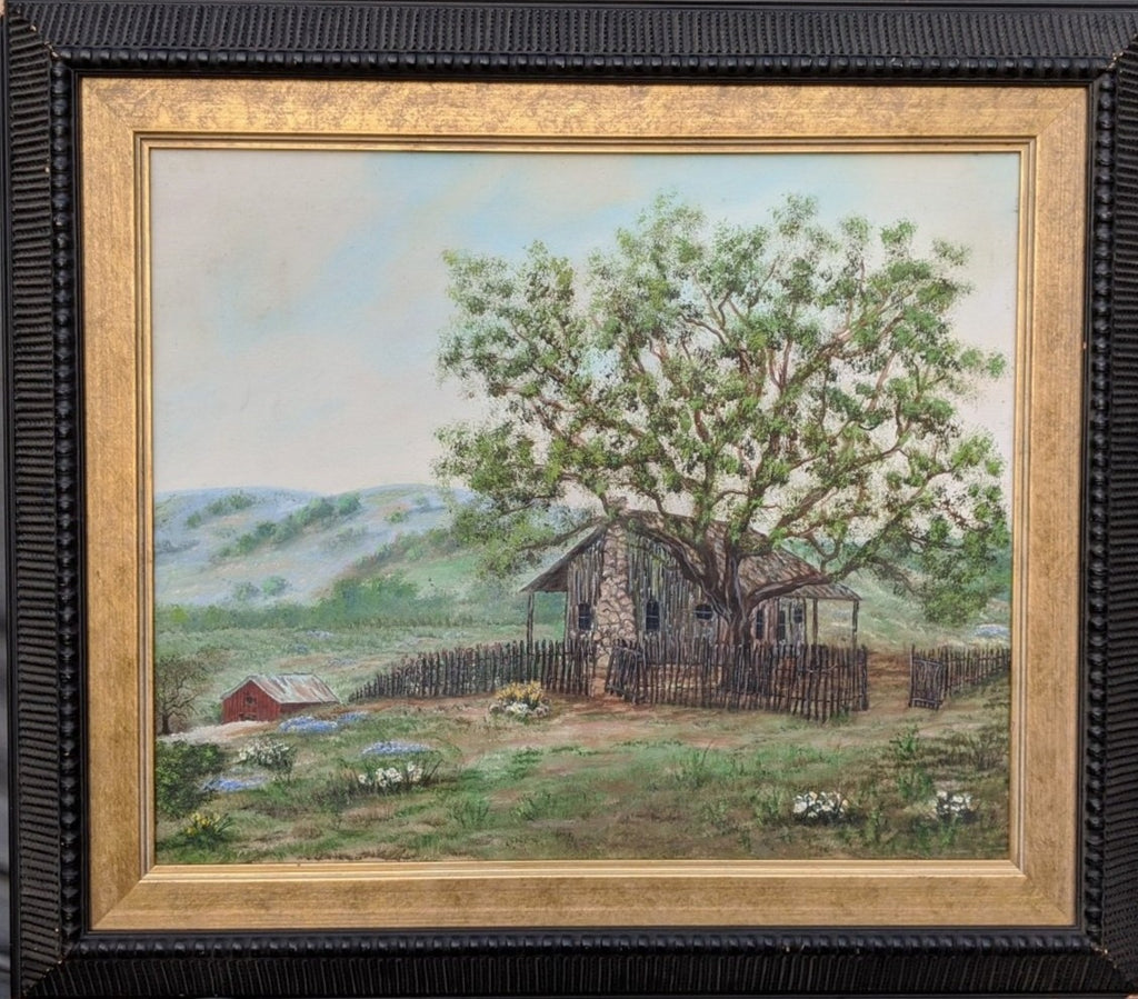 FRAMED OIL PAINTING OF SIMPLE COUNTRY HOUSE