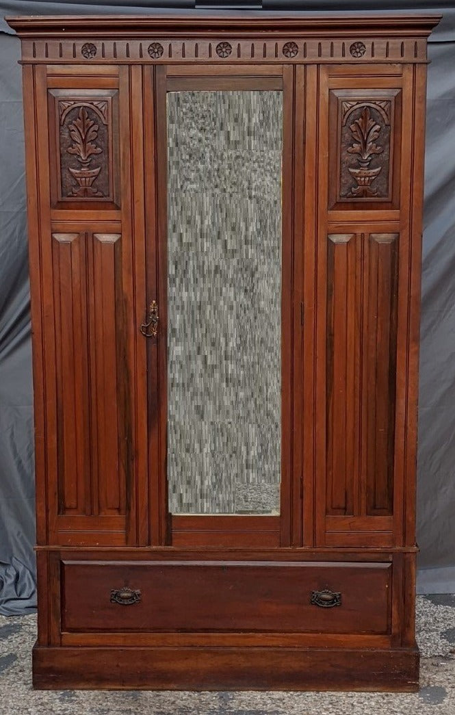SINGLE MIRROR DOOR EDWARDIAN WARDROBE WITH BLANKET BOX