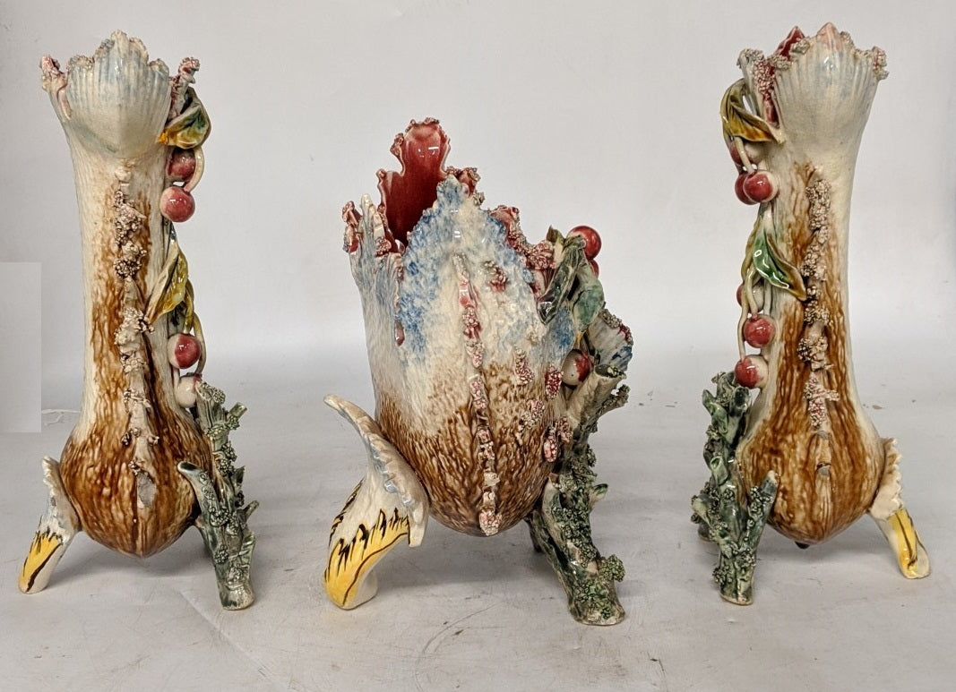 3 PIECE BARBATINE MAJOLICA VASE SET WITH CHERRIES