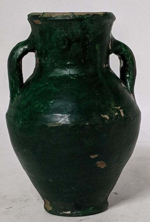 EGYPTIAN POTTERY JUG-DARK GREEN