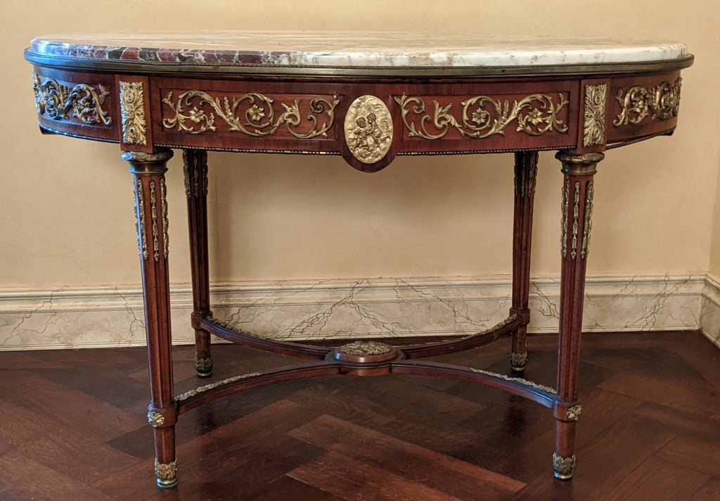 OVAL MARBLE TOP LOUIS XVI CENTER TABLE